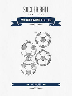 Football Royalty-Free and Rights-Managed Images - 1964 Soccer Ball Patent Drawing - Retro Navy Blue by Aged Pixel