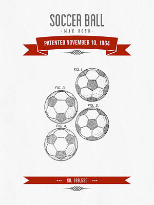 Football Royalty-Free and Rights-Managed Images - 1964 Soccer Ball Patent Drawing - Retro Red by Aged Pixel