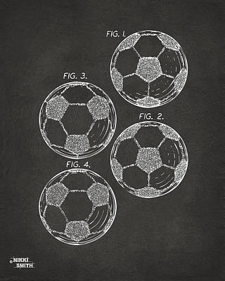1964 Soccerball Patent Artwork - Gray Art Print by Nikki Marie Smith