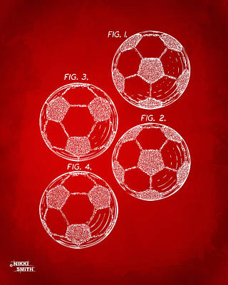 1964 Soccerball Patent Artwork - Red Art Print by Nikki Marie Smith