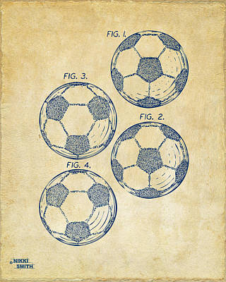 1964 Soccerball Patent Artwork - Vintage Art Print by Nikki Marie Smith