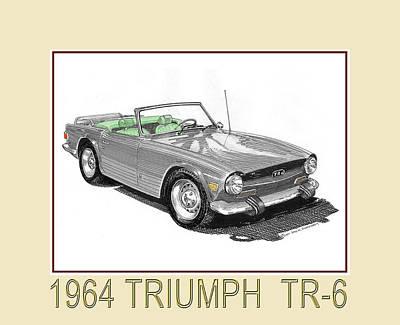 1964 Triumph T R 6 Art Print by Jack Pumphrey