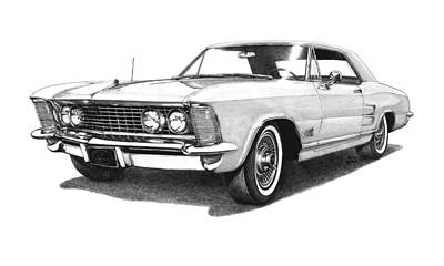 Buick Drawing - 1964 White Buick Riviera by Nick Toth