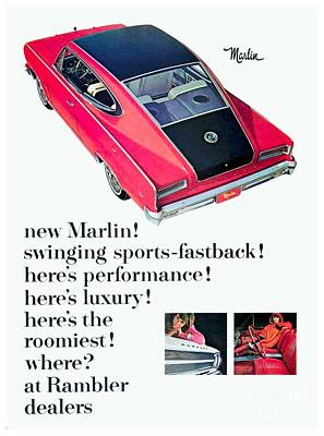 1965 - Rambler Marlin - Automobile Advertisement - Color Art Print