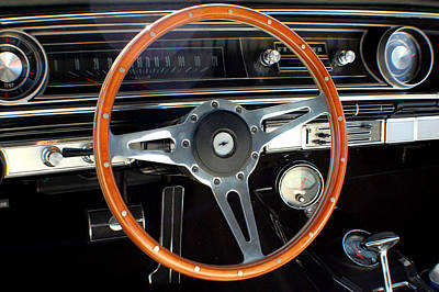 1965 Chevrolet Impala Ss Steering Wheel Art Print by DJ Monteleone