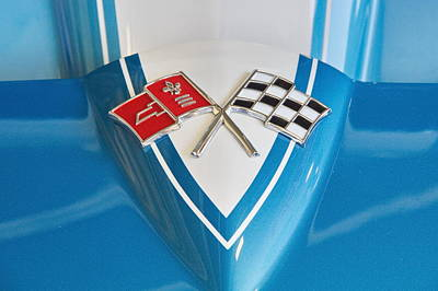 Photograph - 1965 Corvette Flags Emblem by Simply  Photos