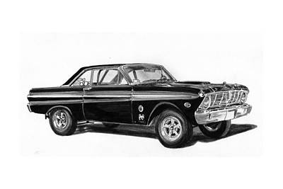 Pen And Ink Drawing Drawing - 1965 Ford Falcon Street Rod by Jack Pumphrey