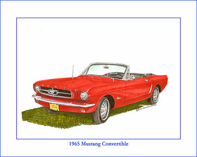Painting - 1965 Ford Mustang Convertible Pony Car by Jack Pumphrey