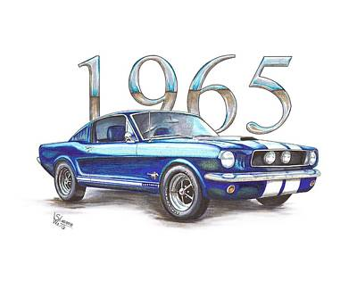 Cobra Drawing - 1965 Ford Mustang Fastback by Shannon Watts