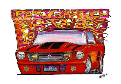 Street Rod Drawing - 1965 Ford Mustang by Jon Richards