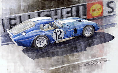 Racing Painting - 1965 Le Mans  Daytona Cobra Coupe  by Yuriy Shevchuk