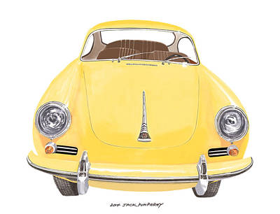 Movies Star Paintings -  Porsche 356 A by Jack Pumphrey