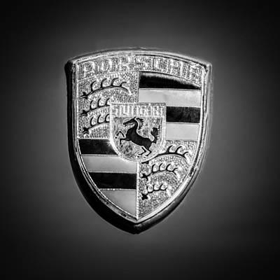 Photograph - 1965 Porsche 911 Coupe Emblem -0951bw55 by Jill Reger