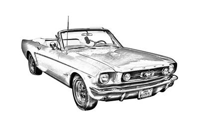 1965 Red Ford Mustang Convertible Drawing Art Print