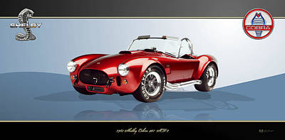 Digital Art - 1965 Red Shelby Cobra 427sc On Bluish Gray And Black by Serge Averbukh