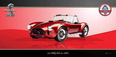 Digital Art - 1965 Red Shelby Cobra 427sc On Red And Black by Serge Averbukh