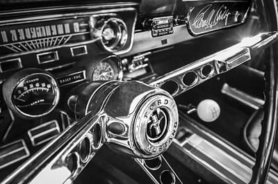 1965 Ford Mustang Photograph - 1965 Shelby Prototype Ford Mustang Steering Wheel Emblem -0314bw by Jill Reger