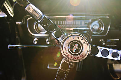 1965 Ford Mustang Photograph - 1965 Shelby Prototype Ford Mustang Steering Wheel Emblem by Jill Reger
