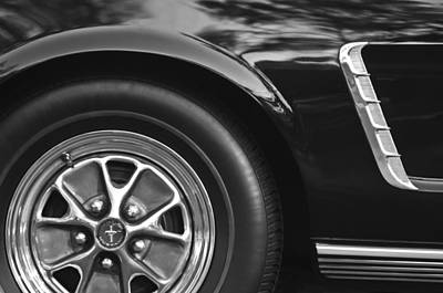 Photograph - 1965 Shelby Prototype Ford Mustang Wheel Emblem -0396bw by Jill Reger