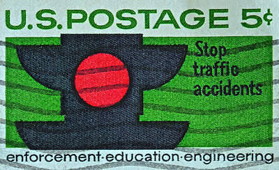 Photograph - 1965 Stop Traffic Accidents Stamp by Bill Owen