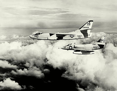 Photograph - 1965 Usn Skywarrior And Skyhawk by Historic Image