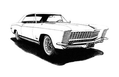 Buick Drawing - 1965 White Buick Riviera by Nick Toth