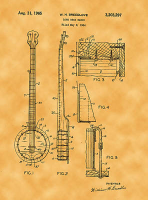 Photograph - 1965 William H Breedlove Longneck Banjo Patent by Michael Porchik
