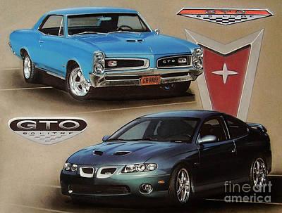 Pontiac Drawing - 1966 And 2006 Pontiac Gto's by Paul Kuras