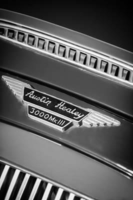 Photograph - 1966 Austin-healey 3000 Mk IIi Bj8 Emblem -1075bw by Jill Reger