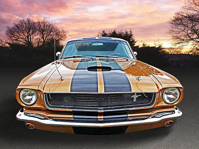 Photograph - 1966 Bronze Mustang At Sunset by Gill Billington