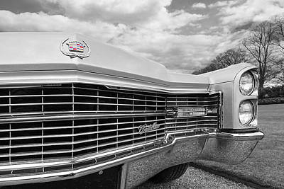 Photograph - 1966 Cadillac Grille In Black And White by Gill Billington