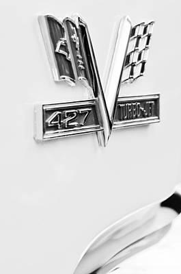 Chevrolet Biscayne Photograph - 1966 Chevrolet Biscayne Emblem -0042bw by Jill Reger