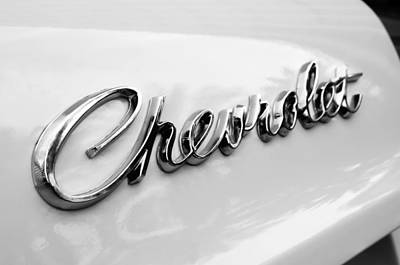 Chevrolet Biscayne Photograph - 1966 Chevrolet Biscayne Emblem -0101bw by Jill Reger