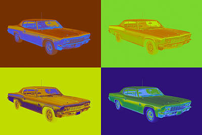 Royalty-Free and Rights-Managed Images - 1966 Chevrolet Caprice 427 Muscle Car Pop Art by Keith Webber Jr
