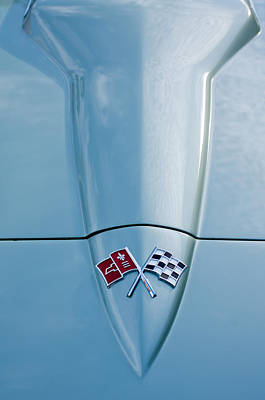 Transportation Photograph - 1966 Chevrolet Corvette Coupe Hood Emblem by Jill Reger