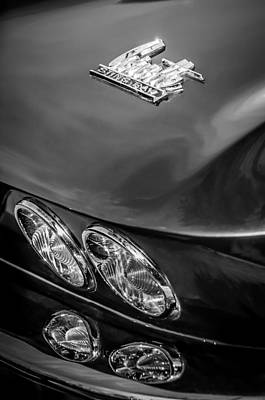 Photograph - 1966 Chevrolet Corvette Taillight Emblem -0578bw by Jill Reger