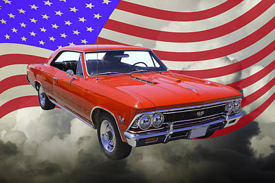 1966 Chevy Chevelle Ss 396 And United States Flag Art Print by Keith Webber Jr