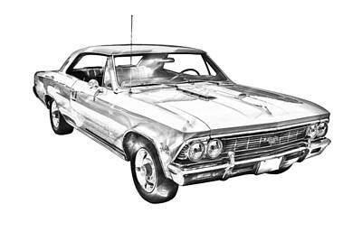 1966 Chevy Chevelle Ss 396 Illustration Art Print by Keith Webber Jr