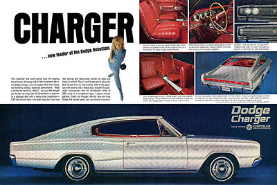 Advertisement Digital Art - 1966 Dodge Charger - New Leader Of The Dodge Rebellion by Digital Repro Depot