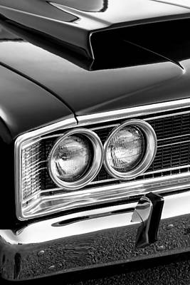 Digital Art - 1966 Dodge Coronet 500 Black And White by Gordon Dean II