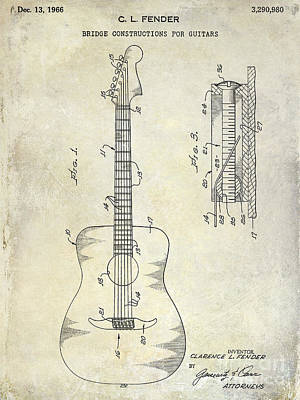 Acoustic Guitar Photograph - 1966 Fender Acoustic Guitar Patent by Jon Neidert