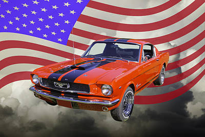 Photograph - 1966 Ford Mustang Fastback And American Flag by Keith Webber Jr