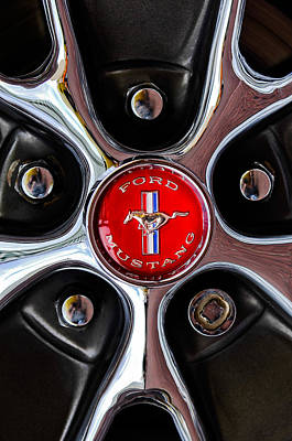 Classic Mustang Car Photograph - 1966 Ford Mustang Gt Wheel Emblem by Jill Reger