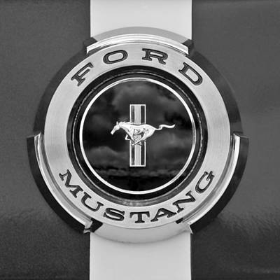 Photograph - 1966 Ford Mustang Shelby Gt 350 Emblem Gas Cap -0295bw by Jill Reger