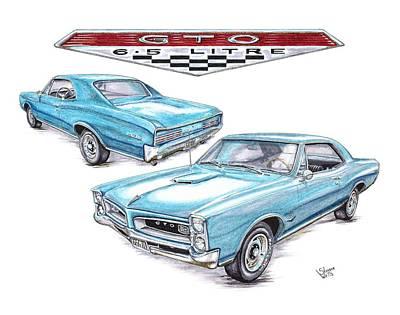 Pontiac Drawing - 1966 Gto by Shannon Watts