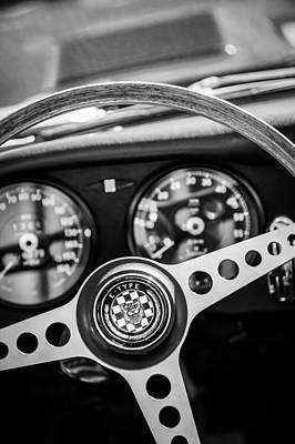Photograph - 1966 Jaguar Xk-e Steering Wheel Emblem -2489bw by Jill Reger