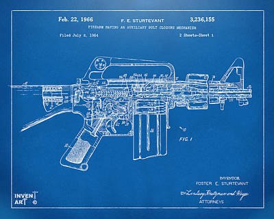 M 16 Digital Art - 1966 M-16 Gun Patent Blueprint by Nikki Marie Smith