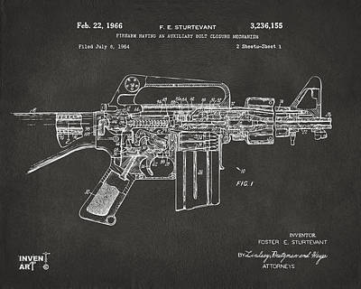Conversation Drawing - 1966 M-16 Gun Patent Gray by Nikki Marie Smith