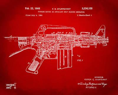 M 16 Digital Art - 1966 M-16 Gun Patent Red by Nikki Marie Smith