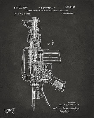 M 16 Digital Art - 1966 M-16 Rifle Patent Gray by Nikki Marie Smith